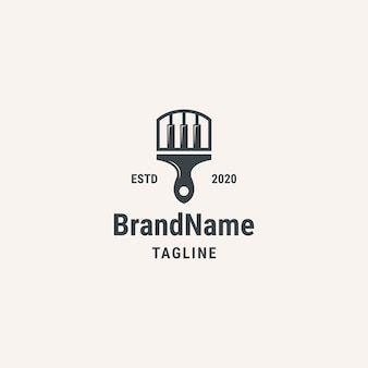 Logotipo da escova de piano. logotipo do estilo vintage. logotipo para negócios, música, arte.