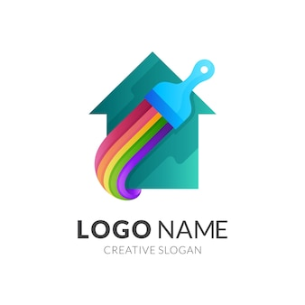 Logotipo da escova de pintura, logotipo do edifício com design colorido da casa