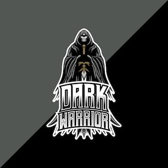 Logotipo da esport com ícone de personagem guerreiro escuro