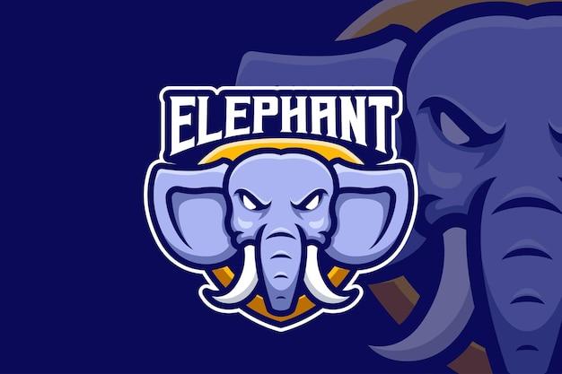 Logotipo da esport com mascote de elefante