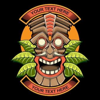 Logotipo da estátua da máscara tiki