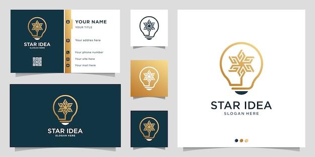 Logotipo da estrela com estilo de arte de linha de ideia e modelo de design de cartão de visita