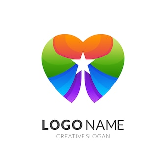 Logotipo da estrela do amor, amor e estrela, combinação de logotipo com estilo 3d colorido