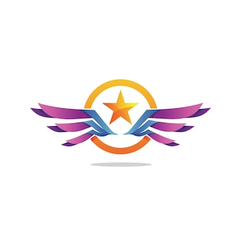 Logotipo da estrela e asas