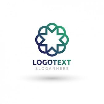 Logotipo da estrela poligonal com efeito de gradiente