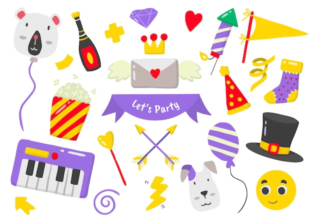 Logotipo da etiqueta da festa para banner, cartaz, folheto