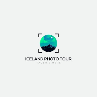 Logotipo da excursão da foto da luz de islândia