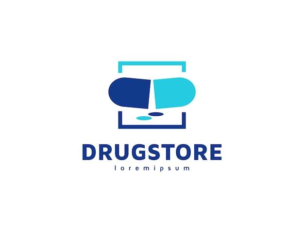 Logotipo da farmácia ou medicamento com ilustração da cápsula e do comprimido