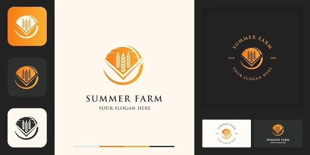 Logotipo da fazenda com conceito de verão e design de cartão de visita
