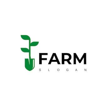 Logotipo da fazenda com símbolo de pá
