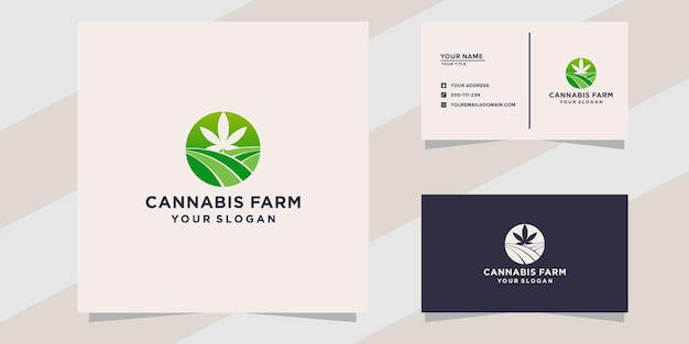 Logotipo da fazenda de cannabis e modelo de cartão de visita