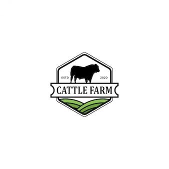 Logotipo da fazenda de gado, fazenda de vaca angus