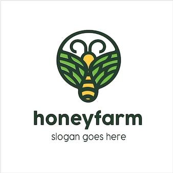 Logotipo da fazenda de mel de abelha