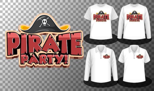 Logotipo da festa pirata com conjunto de diferentes camisetas com tela do logotipo da festa pirata nas camisetas