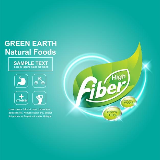 Logotipo da fibra para produtos saudáveis ou modelo de cartaz de banner.