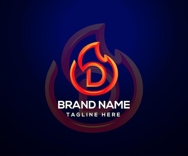 Logotipo da fire e letra inicial d para empresa e negócios