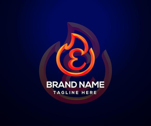 Logotipo da fire e letra inicial e para empresa e negócios