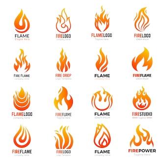 Logotipo da fire. identidade do negócio da coleção dos símbolos da chama ardente. ilustração do logotipo do fogo, chama laranja quente