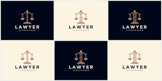 Logotipo da firma de advocacia, escritório de advocacia, serviço de advogado, logotipo do emblema vintage de luxo, modelo de logotipo de vetor de design de logotipo de firma de advogado. pilar com design de vetor de escudo. modelo de design de ilustração