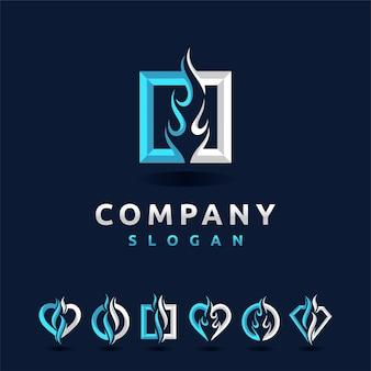 Logotipo da flames definido com várias formas