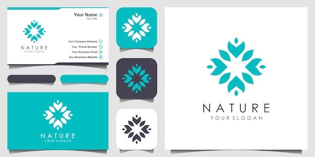 Logotipo da flor abstrata e cartão de visita