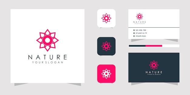 Logotipo da flor abstrata e cartão de visita.