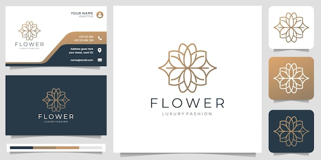 Logotipo da flor abstrata minimalista. estilo de arte de linha rosa. logotipo para salão de beleza e spa, moda, cuidados com a pele.