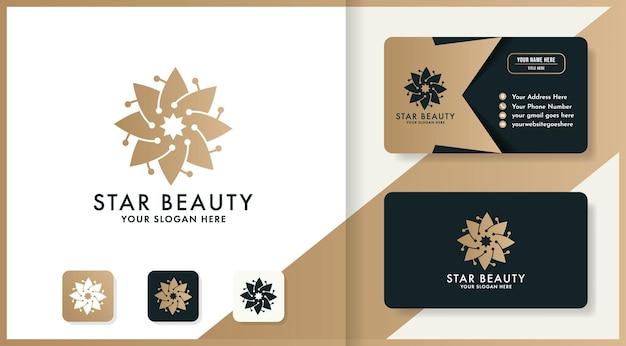 Logotipo da flor circular de beleza e design de cartão de visita