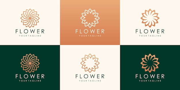Logotipo da flor circular de luxo. logotipo floral de folha universal linear