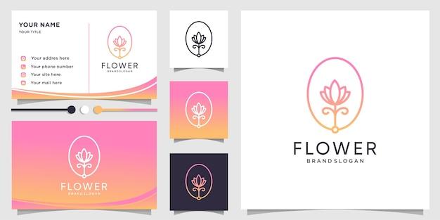 Logotipo da flor com estilo de arte de linha de gradiente de beleza e design de cartão de visita