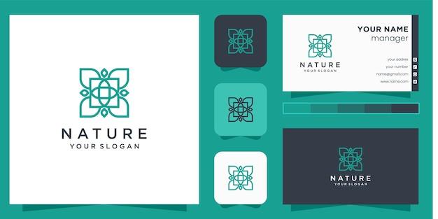 Logotipo da flor com estilo de arte de linha e cartão de visita