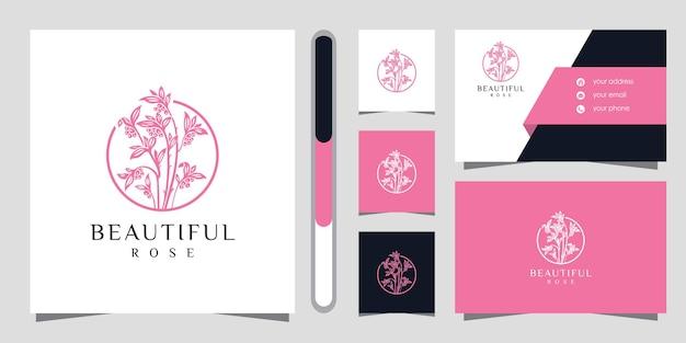 Logotipo da flor com estilo de arte de linha e cartão de visita.