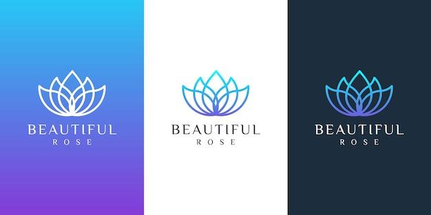 Logotipo da flor com estilo de arte de linha