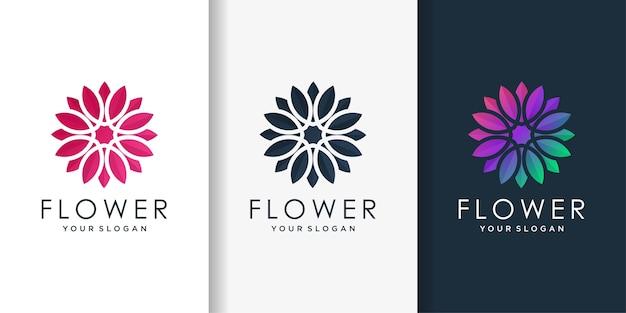 Logotipo da flor com estilo gradiente moderno, beleza, flor, spa, saúde,