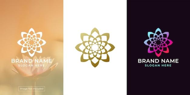 Logotipo da flor com ornamento circular luxuoso e exclusivo