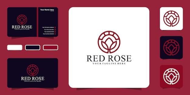 Logotipo da flor criativa com modelo de estilo de arte em círculo e linha e cartão de visita