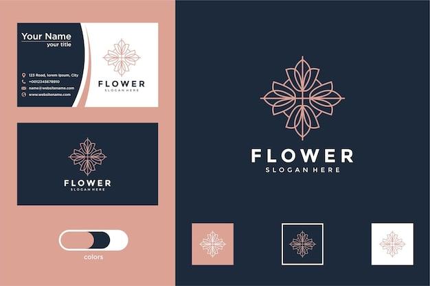 Logotipo da flor da beleza com design de estilo de linha e cartão de visita