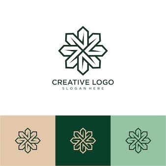 Logotipo da flor de arte em linha