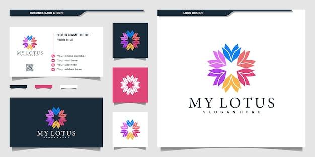 Logotipo da flor de lótus com estilo colorido e design de cartão de visita premium vector