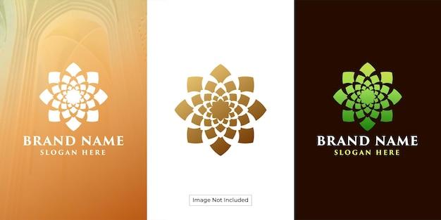 Logotipo da flor de lótus com ornamento circular luxuoso e exclusivo