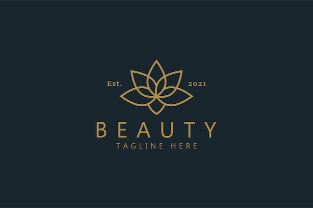 Logotipo da flor de lótus do vetor premium da beleza. símbolo elegante da cor do ouro. melhor identidade de marca em alta.