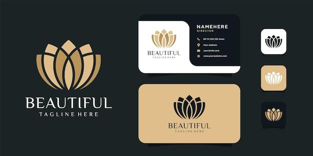 Logotipo da flor de lótus feminino e modelo de design de cartão de visita.