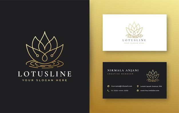 Logotipo da flor de lótus vintage e design de cartão de visita
