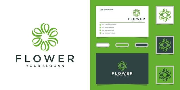 Logotipo da flor de luxo para beleza, cosméticos, ioga e spa. design de logotipo e cartão de visita