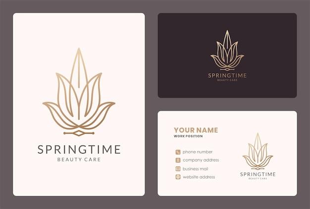 Logotipo da flor do monograma e design de cartão de visita.