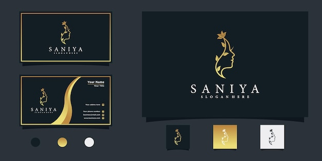 Logotipo da flor do rosto de mulher de beleza com gradiente dourado e design de cartão de visita premium vector