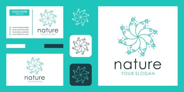 Logotipo da flor e cartão de visita