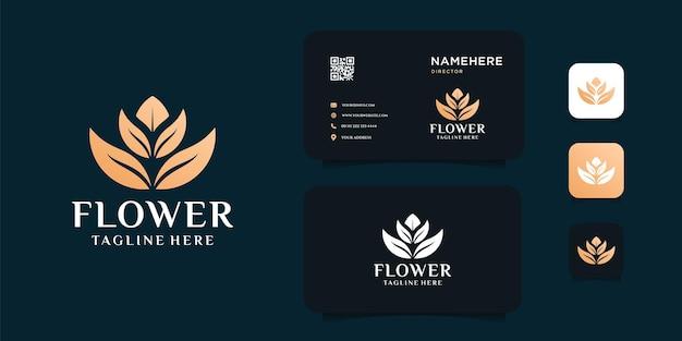 Logotipo da flor e folha de ouro da beleza