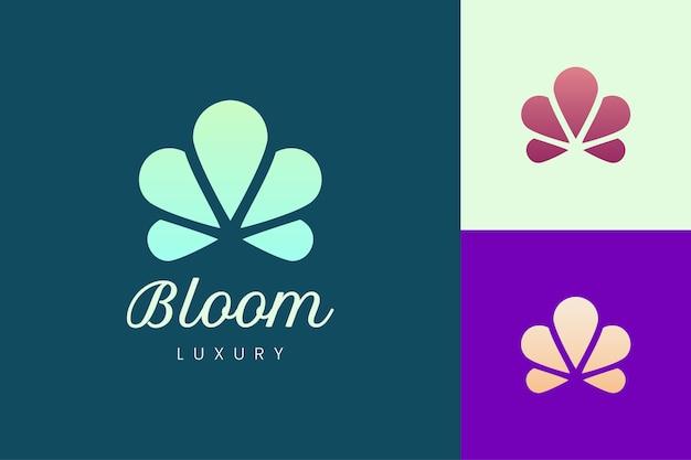 Logotipo da flor em formato redondo e limpo com cor suave