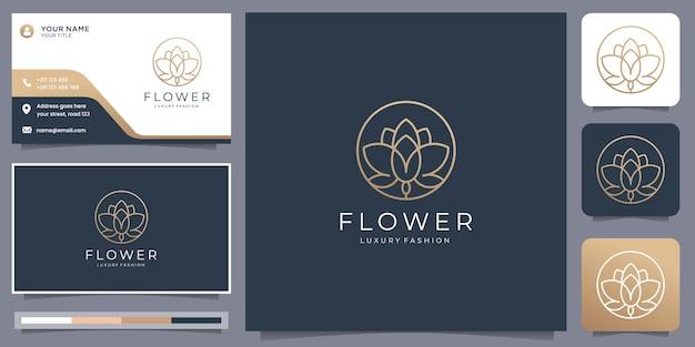 Logotipo da flor minimalista com estilo de linha de forma de círculo. modelo de logotipo e cartão de visita.